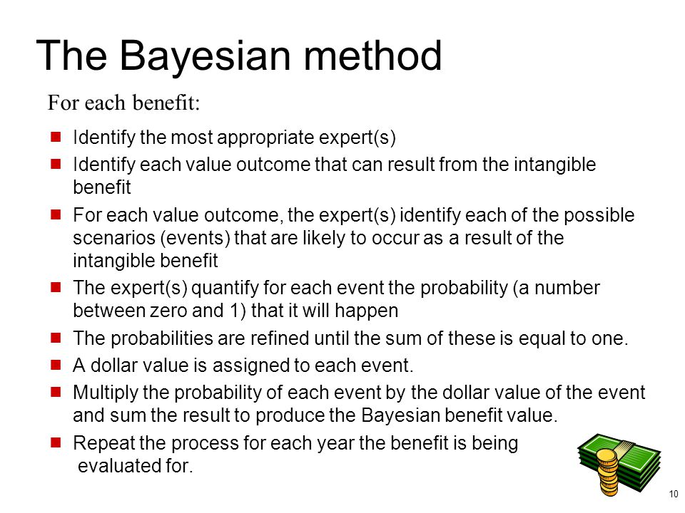 The Bayesian method For each benefit: