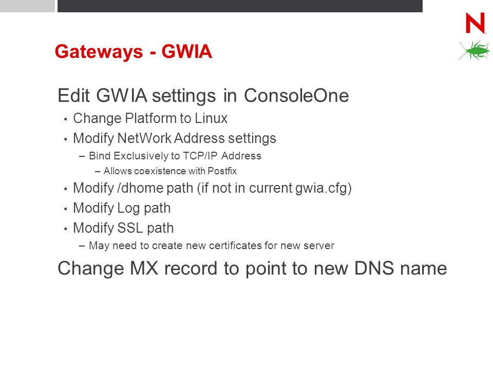 Edit GWIA settings in ConsoleOne