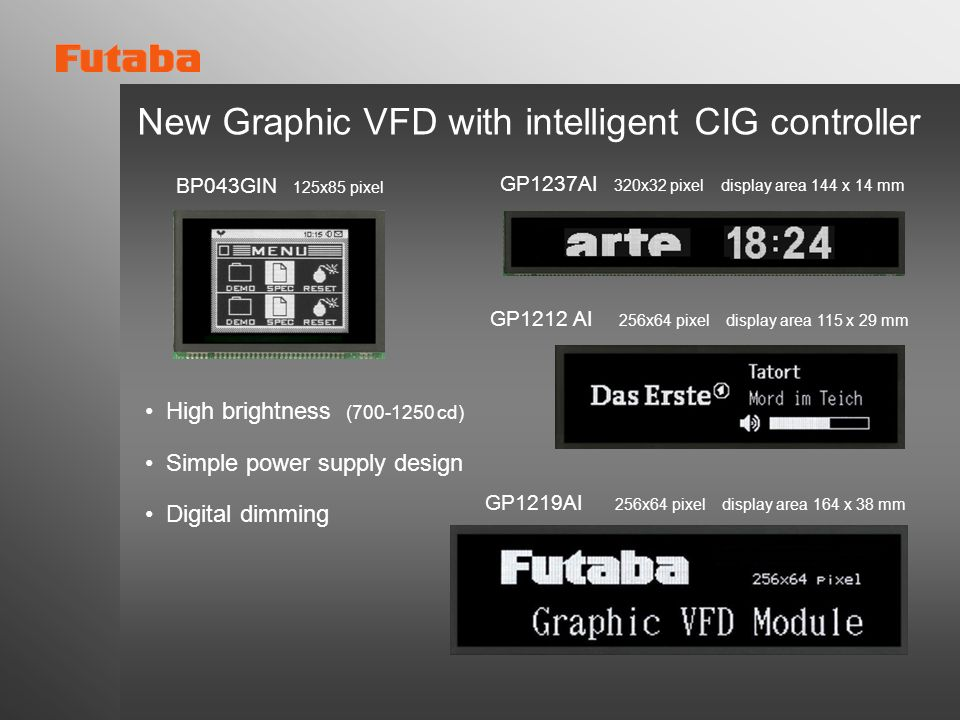 New Graphic VFD with intelligent CIG controller