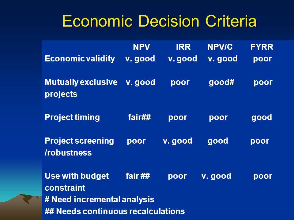 Economic Decision Criteria