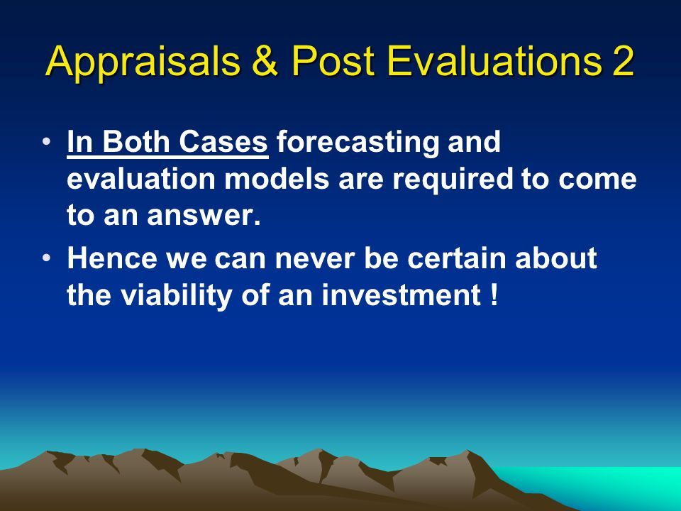 Appraisals & Post Evaluations 2
