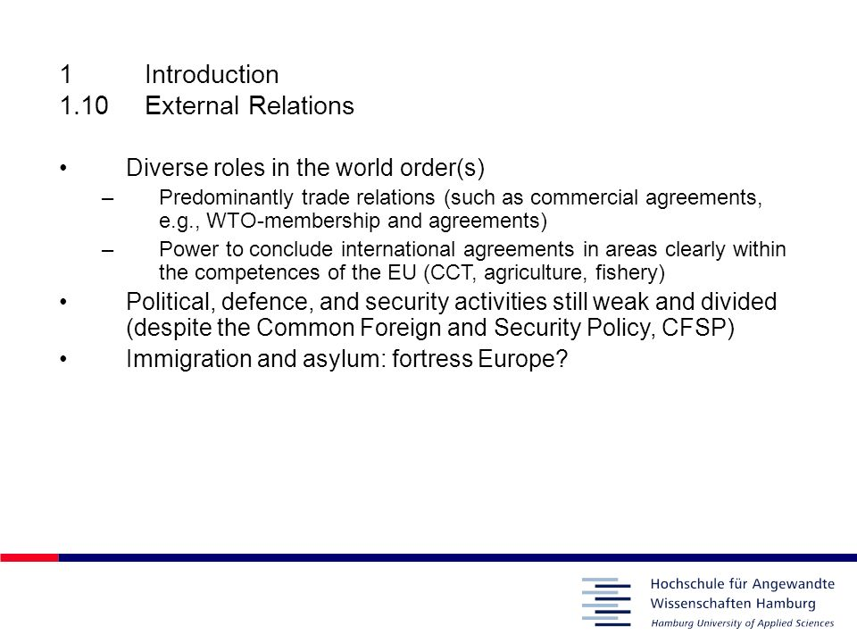 1 Introduction 1.10 External Relations