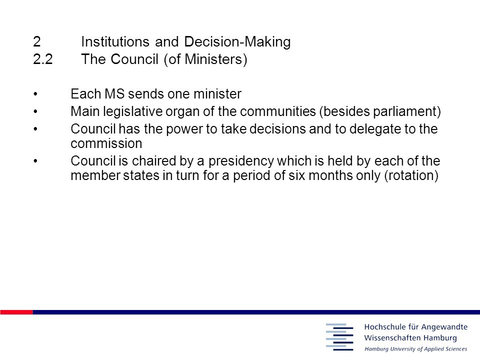 2 Institutions and Decision-Making 2.2 The Council (of Ministers)