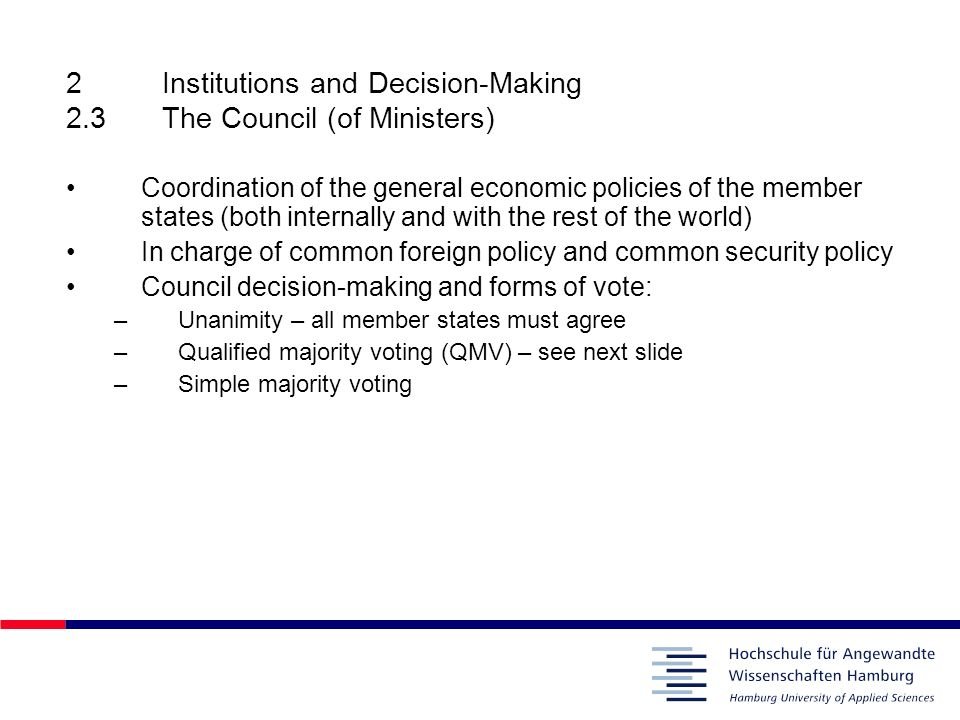2 Institutions and Decision-Making 2.3 The Council (of Ministers)