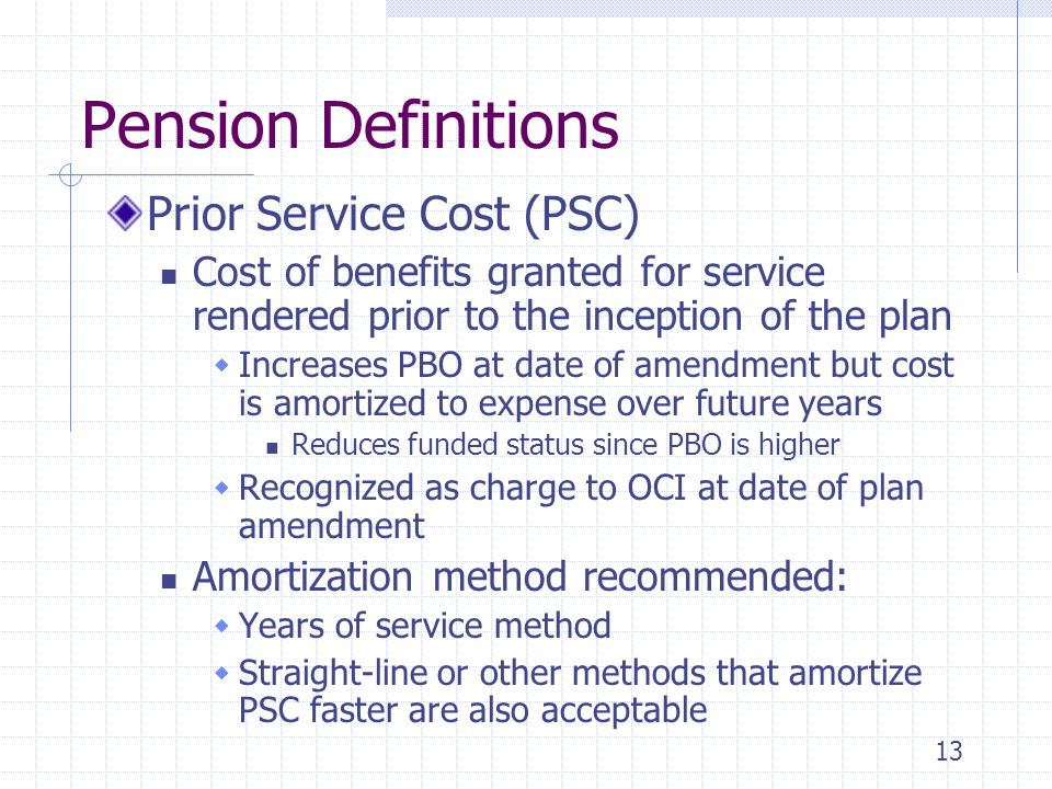 Pension Definitions Prior Service Cost (PSC)