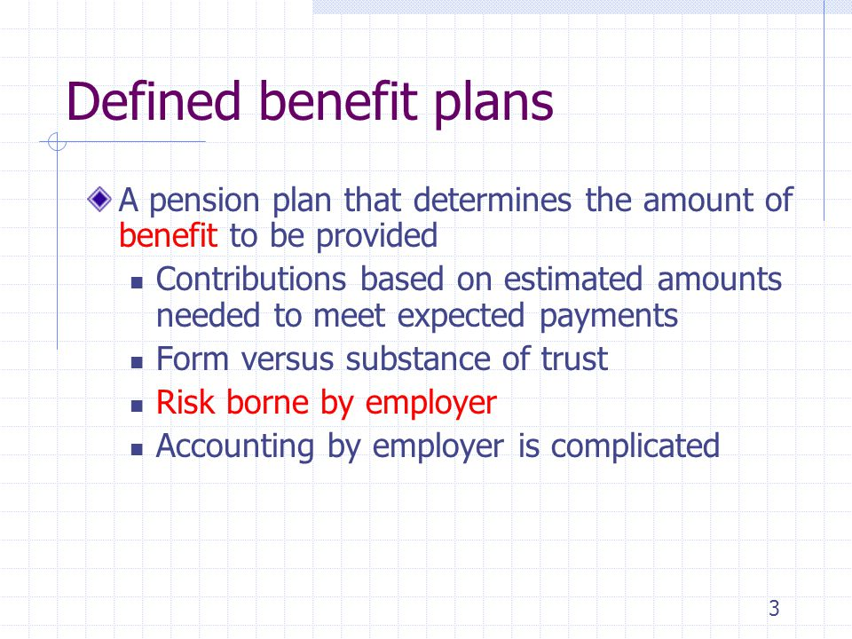 4/5/2017 Defined benefit plans. A pension plan that determines the amount of benefit to be provided.