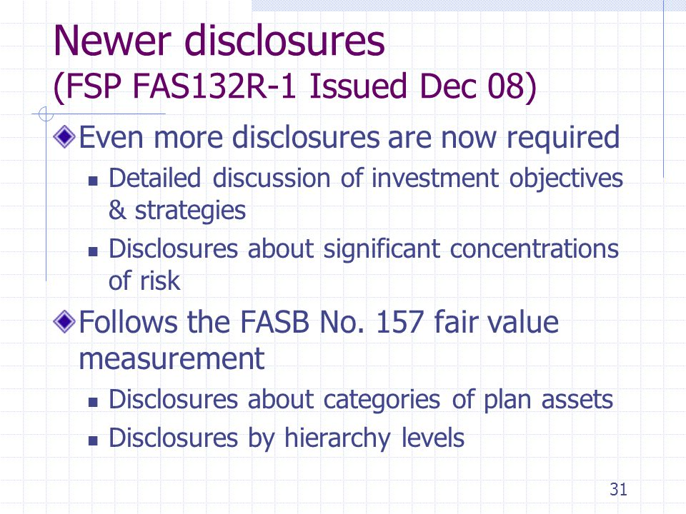 Newer disclosures (FSP FAS132R-1 Issued Dec 08)