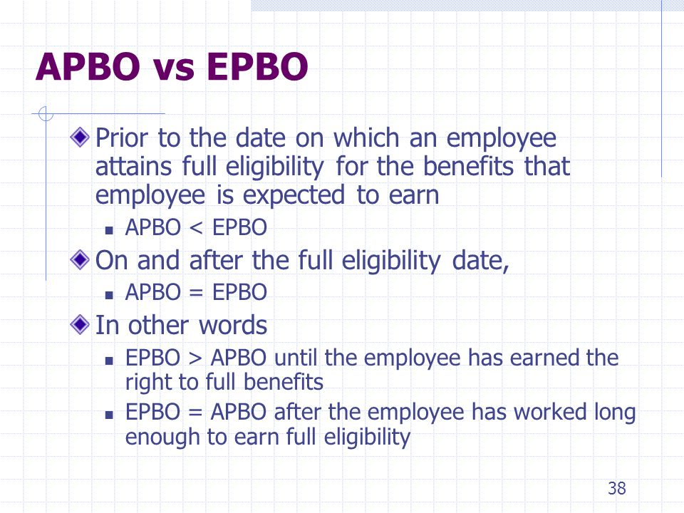 4/5/2017 APBO vs EPBO. Prior to the date on which an employee attains full eligibility for the benefits that employee is expected to earn.