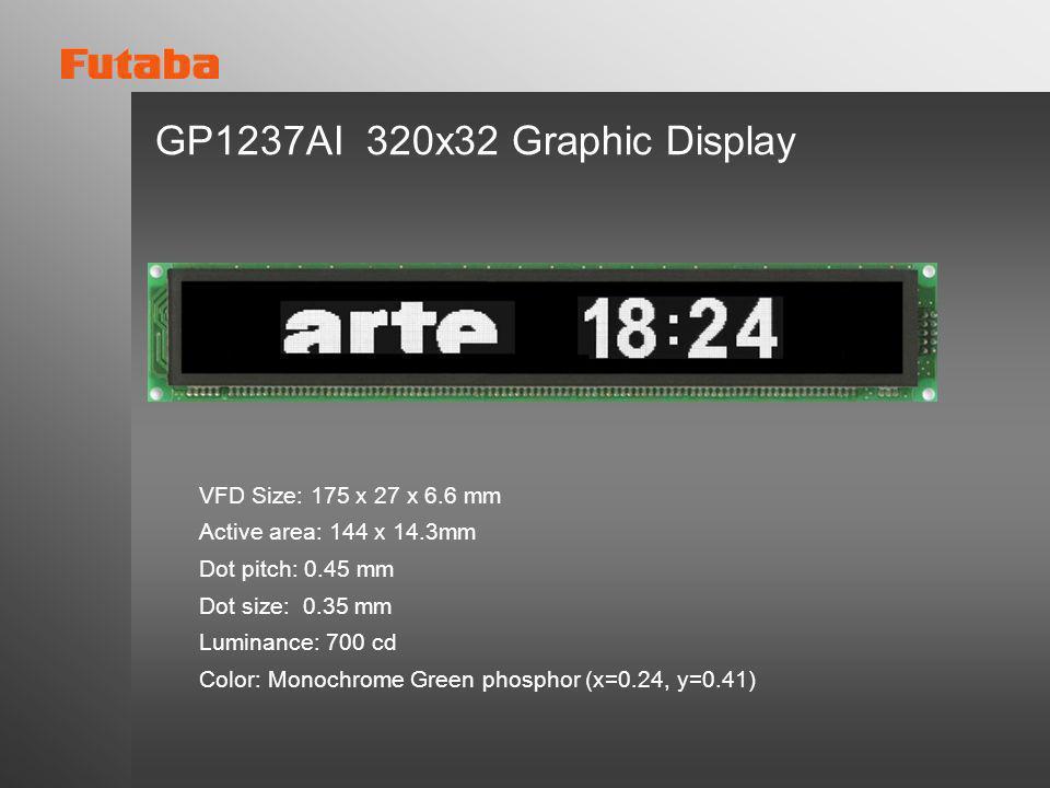 GP1237AI 320x32 Graphic Display VFD Size: 175 x 27 x 6.6 mm