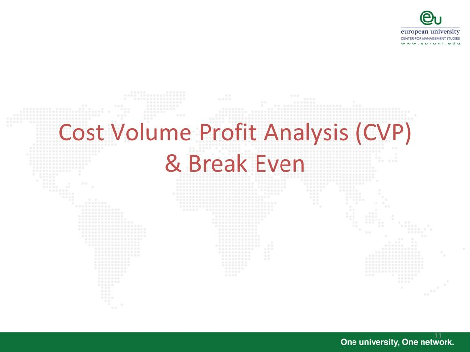 Cost Volume Profit Analysis (CVP) & Break Even