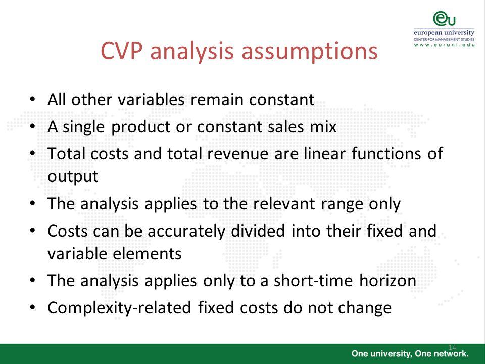 CVP analysis assumptions