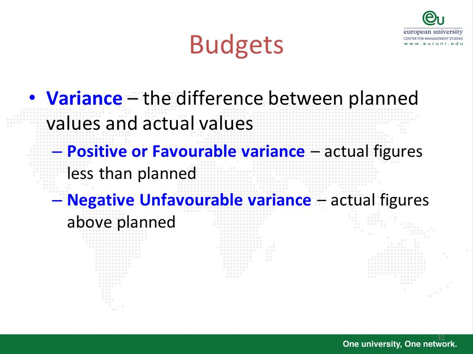BudgetsVariance – the difference between planned values and actual values. Positive or Favourable variance – actual figures less than planned.