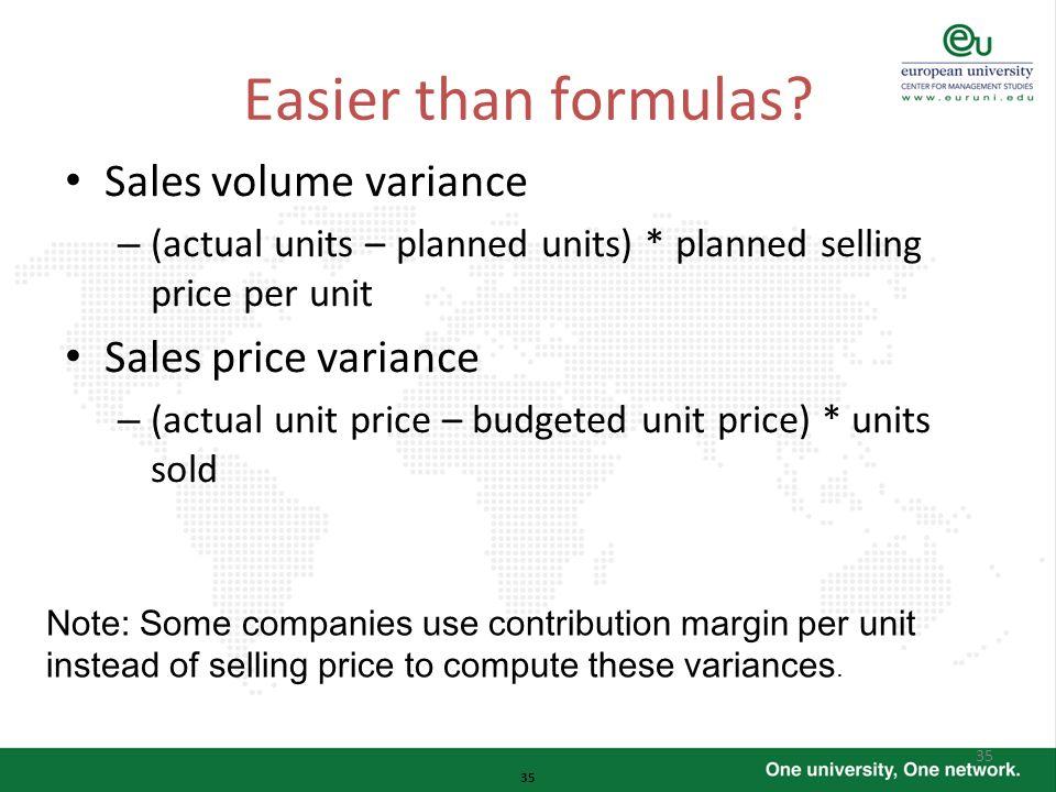 Easier than formulas Sales volume variance Sales price variance