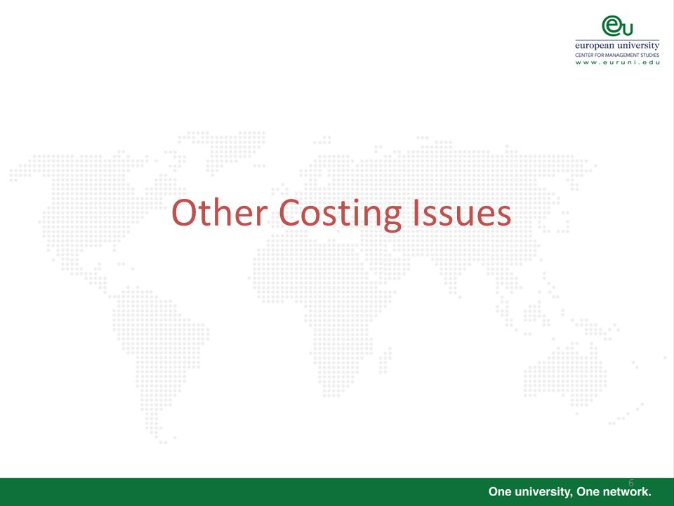 Other Costing Issues
