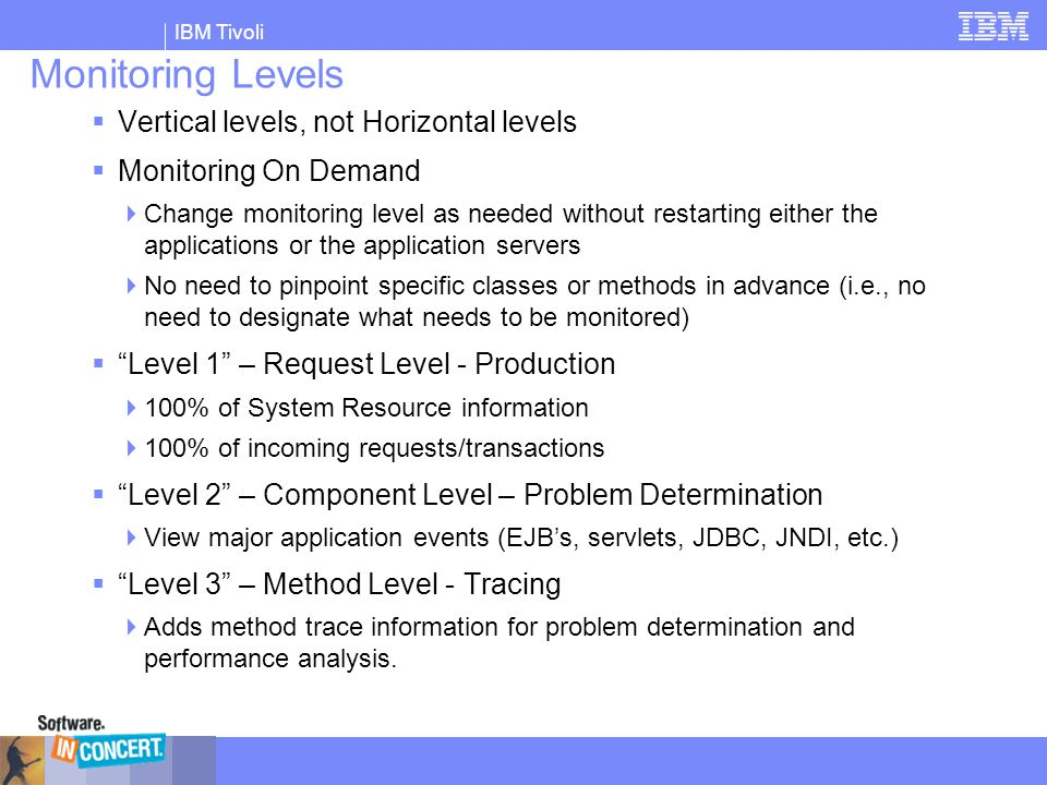 Monitoring Levels Vertical levels, not Horizontal levels