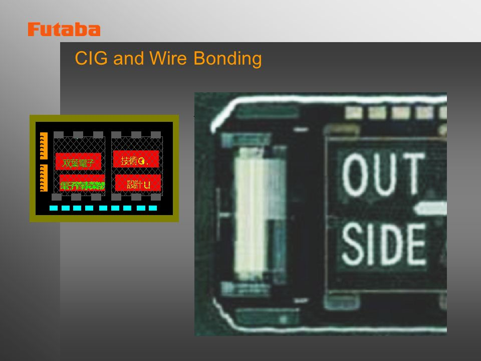CIG and Wire BondingIC driver is connected to base glass by aluminium wire.
