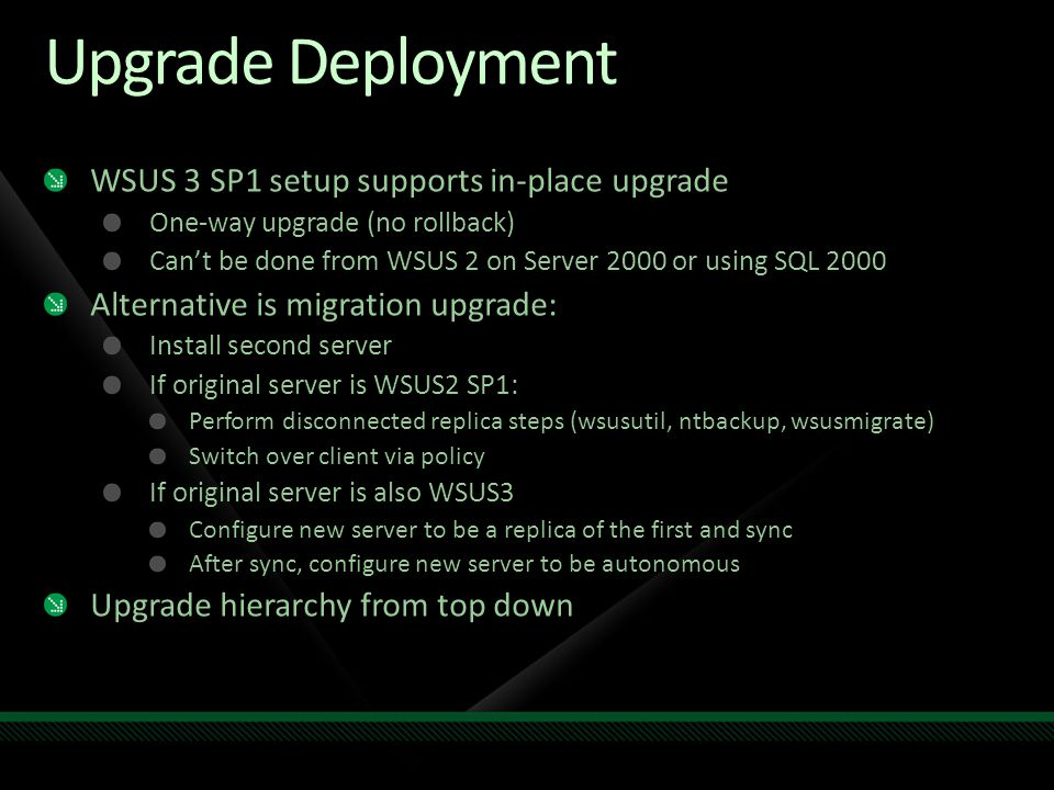 Upgrade Deployment WSUS 3 SP1 setup supports in-place upgrade