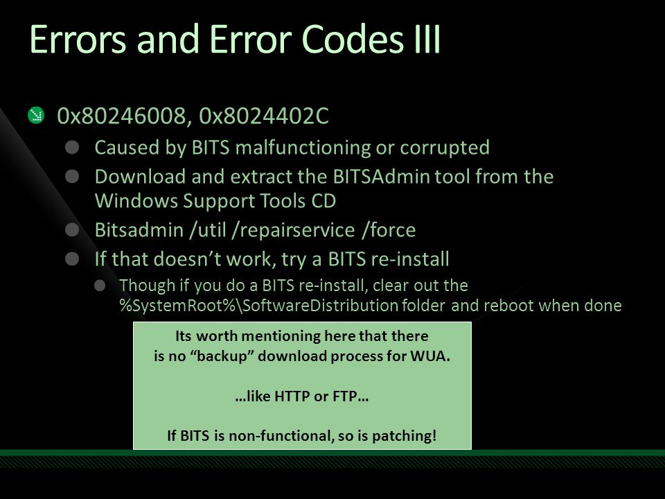 Errors and Error Codes III