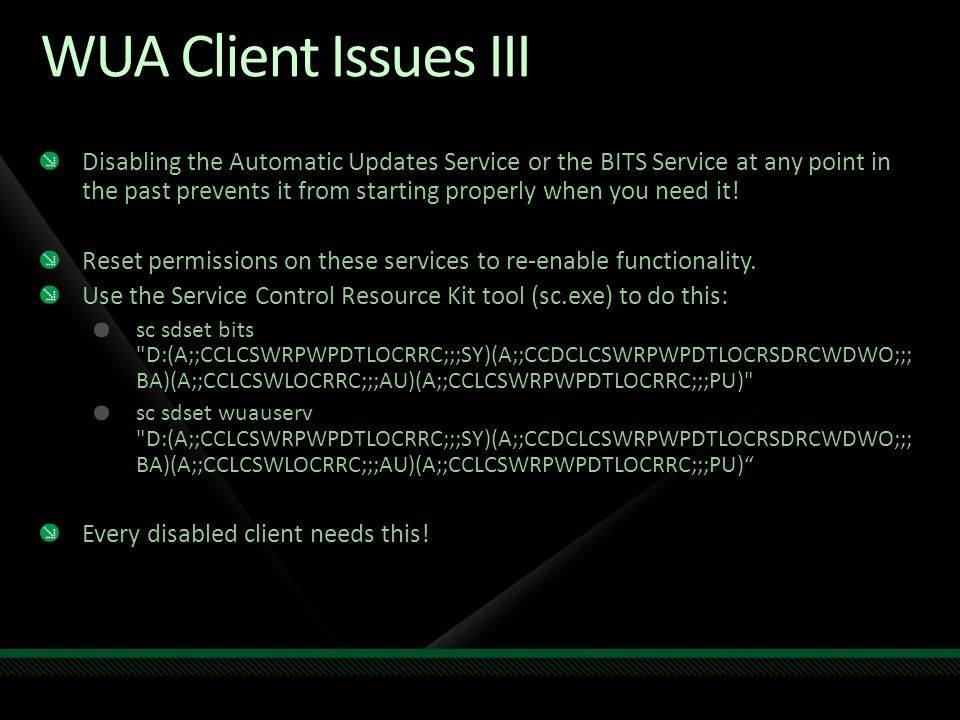 WUA Client Issues III