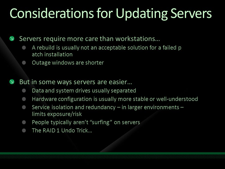 Considerations for Updating Servers