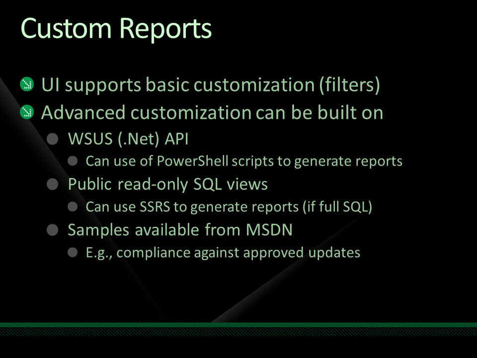 Custom Reports UI supports basic customization (filters)