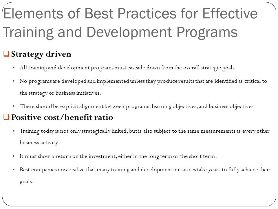Elements of Best Practices for Effective Training and Development Programs