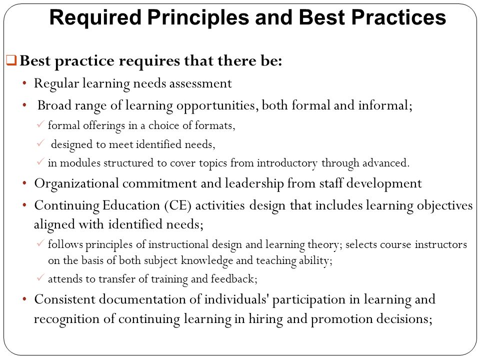 Required Principles and Best Practices