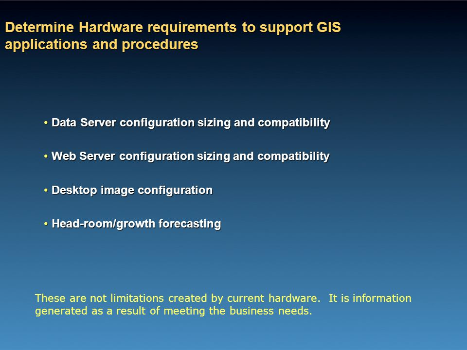 Determine Hardware requirements to support GIS applications and procedures