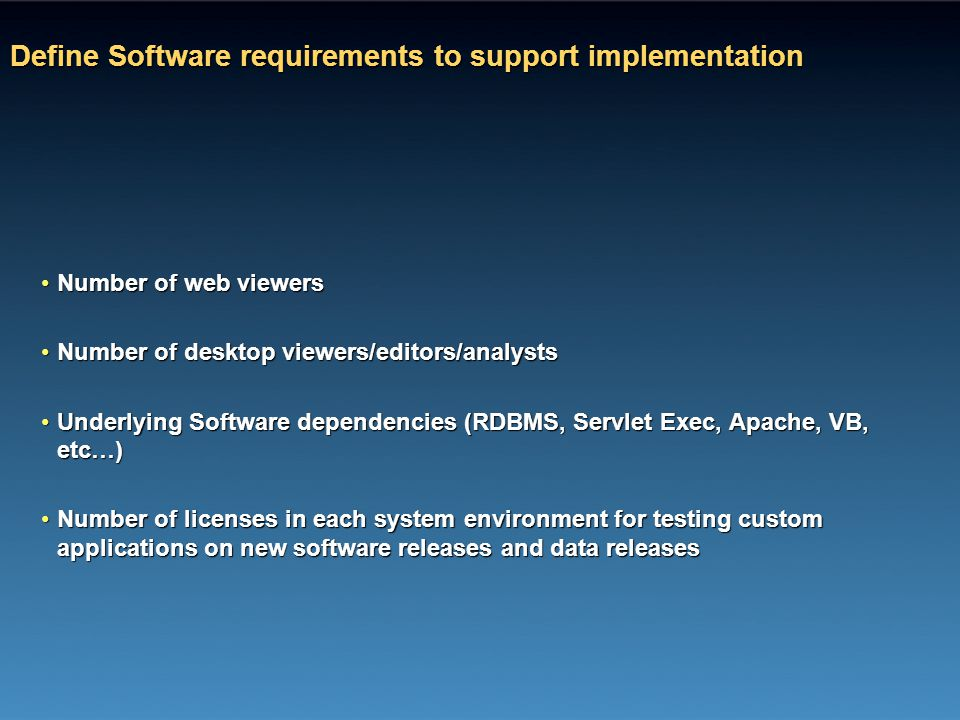 Define Software requirements to support implementation