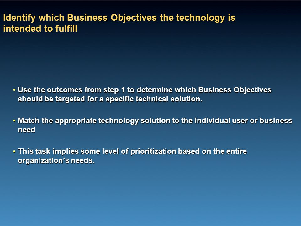 Identify which Business Objectives the technology is intended to fulfill