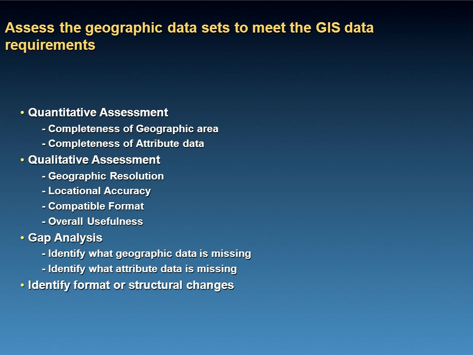 Assess the geographic data sets to meet the GIS data requirements