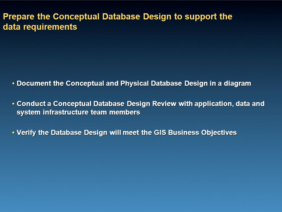 Prepare the Conceptual Database Design to support the data requirements