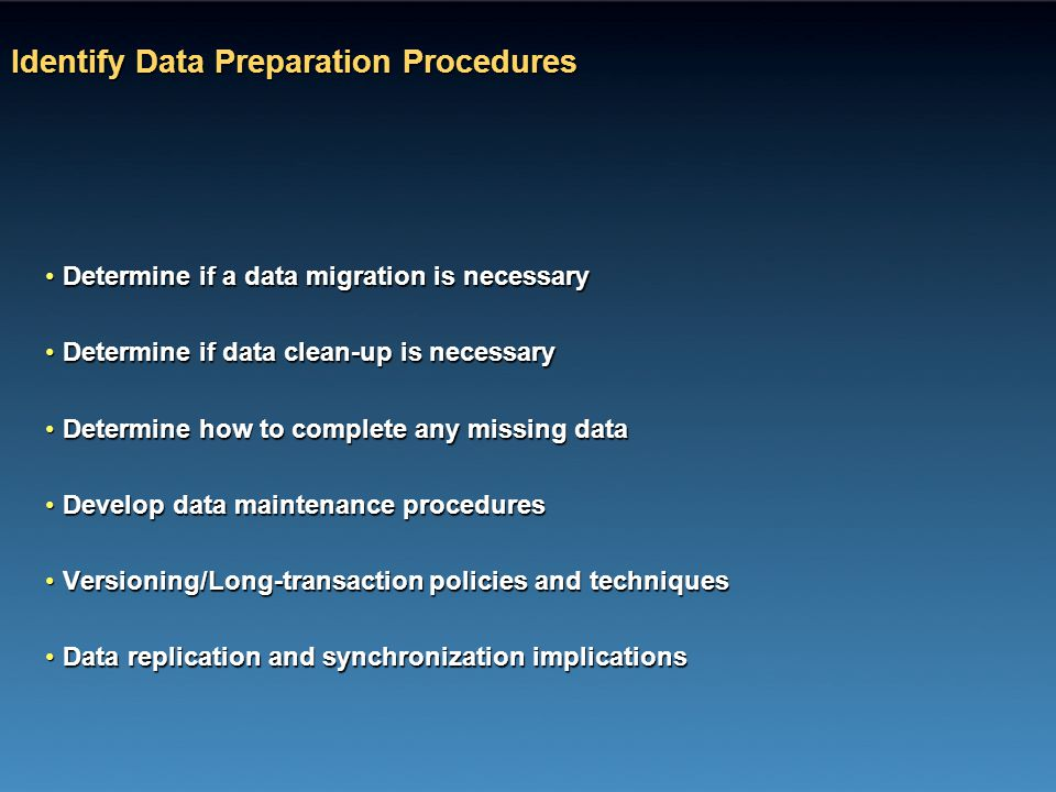 Identify Data Preparation Procedures
