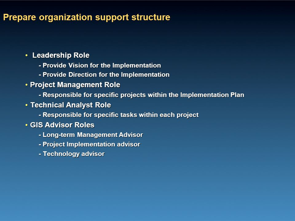 Prepare organization support structure