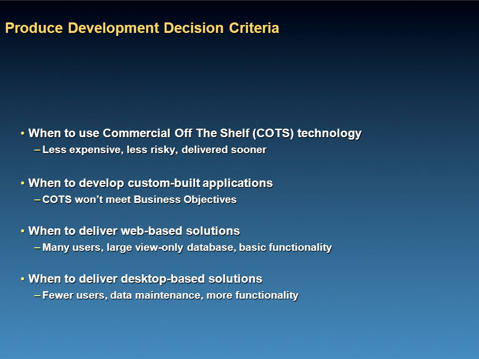 Produce Development Decision Criteria