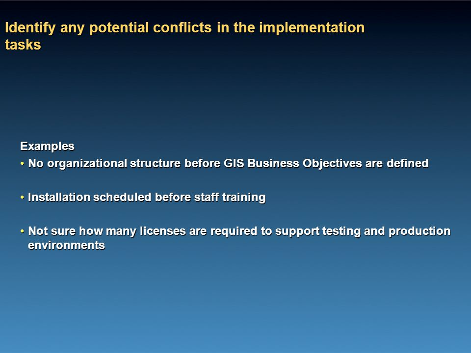 Identify any potential conflicts in the implementation tasks