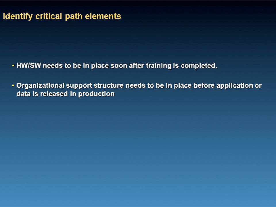 Identify critical path elements