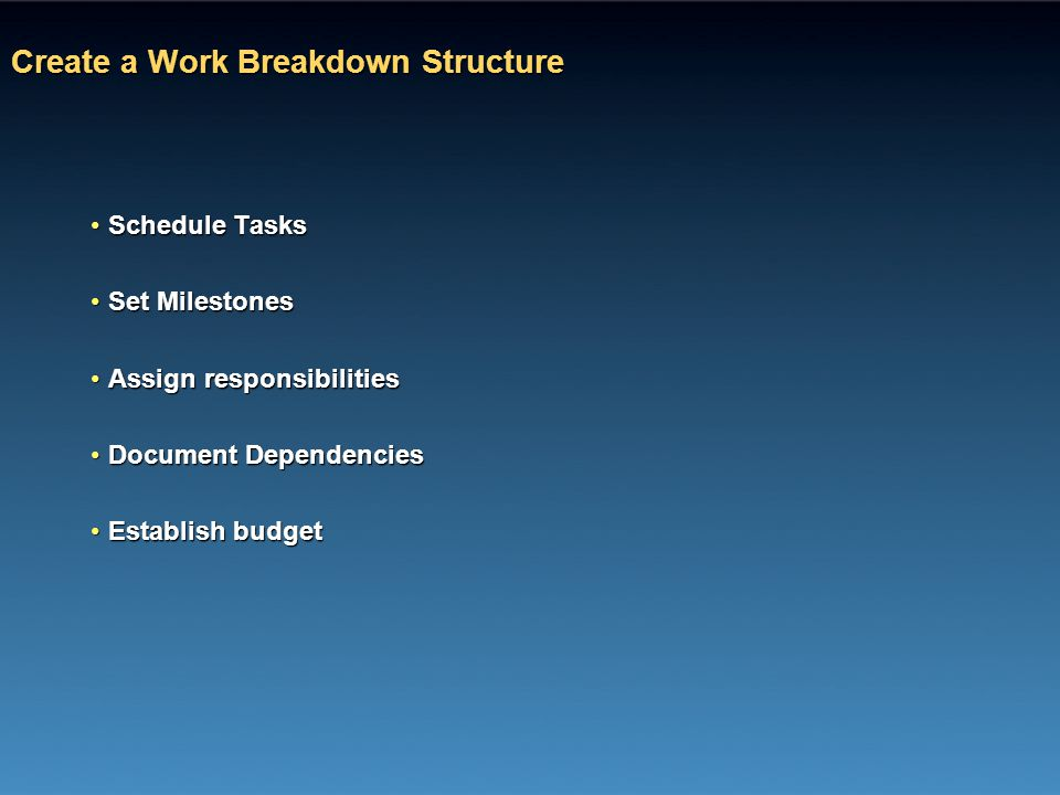Create a Work Breakdown Structure