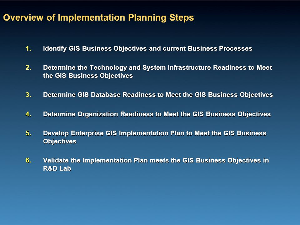 Overview of Implementation Planning Steps