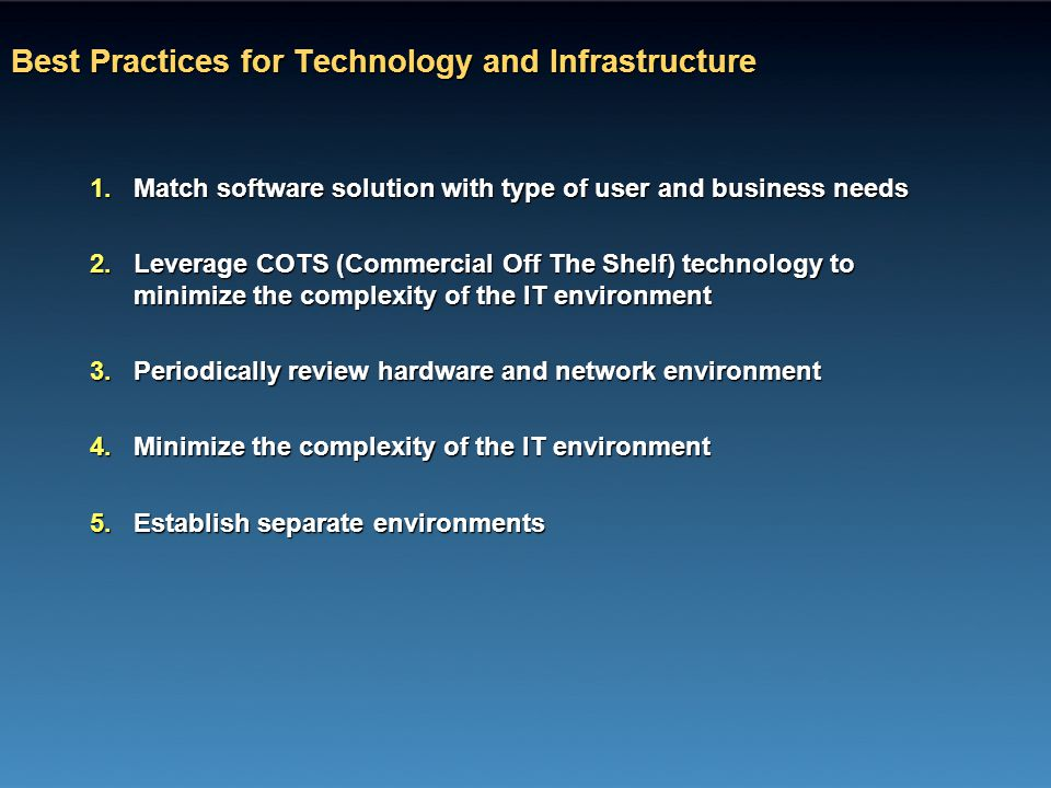 Best Practices for Technology and Infrastructure