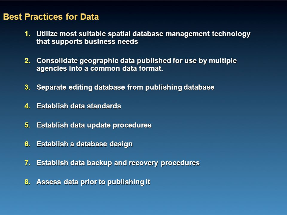 Best Practices for Data
