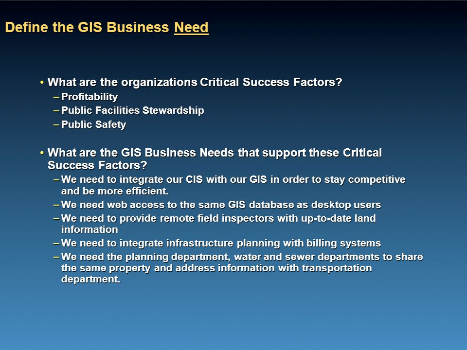 Define the GIS Business Need