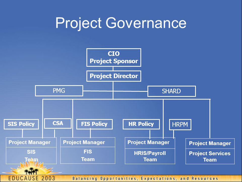 Project Governance CIO Project Sponsor Project Director PMG SHARD HRPM