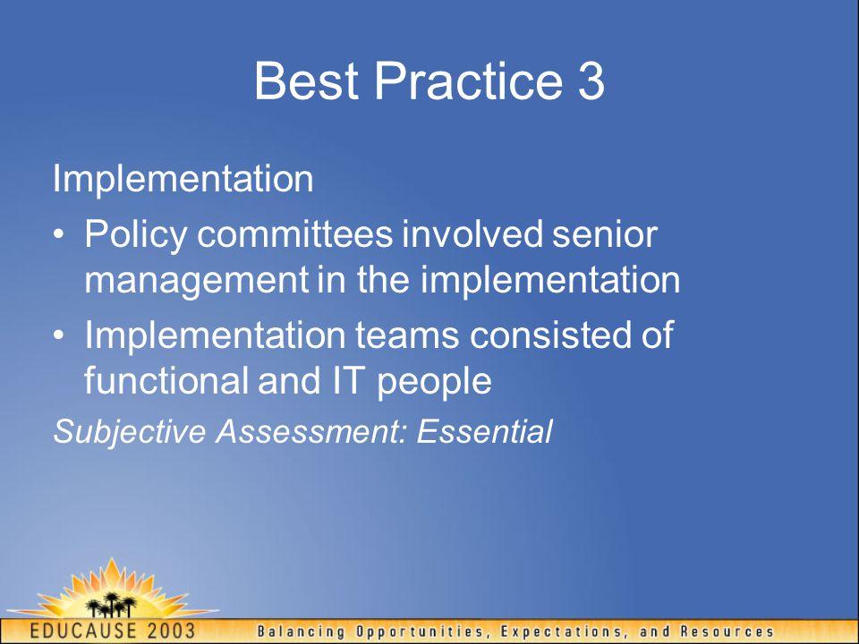 Best Practice 3 Implementation