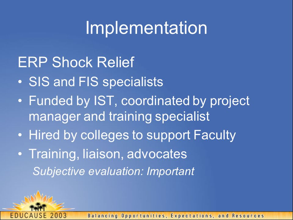 Implementation ERP Shock Relief SIS and FIS specialists