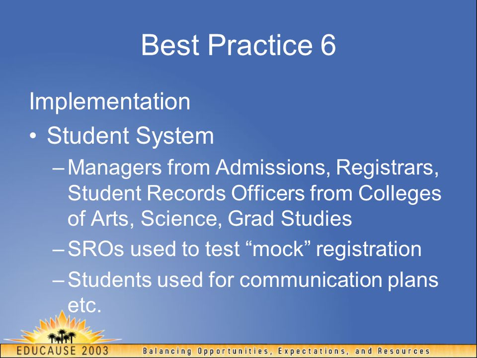 Best Practice 6 Implementation Student System