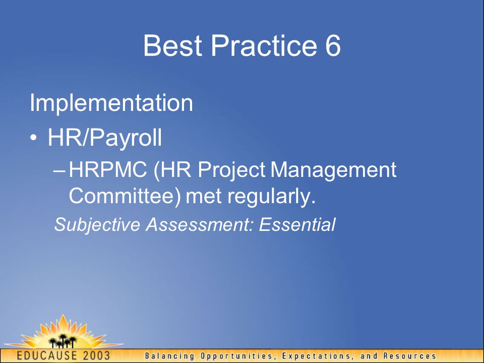 Best Practice 6 Implementation HR/Payroll