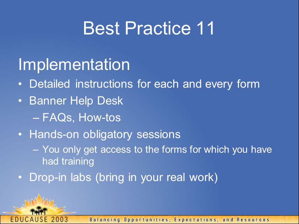 Best Practice 11 Implementation