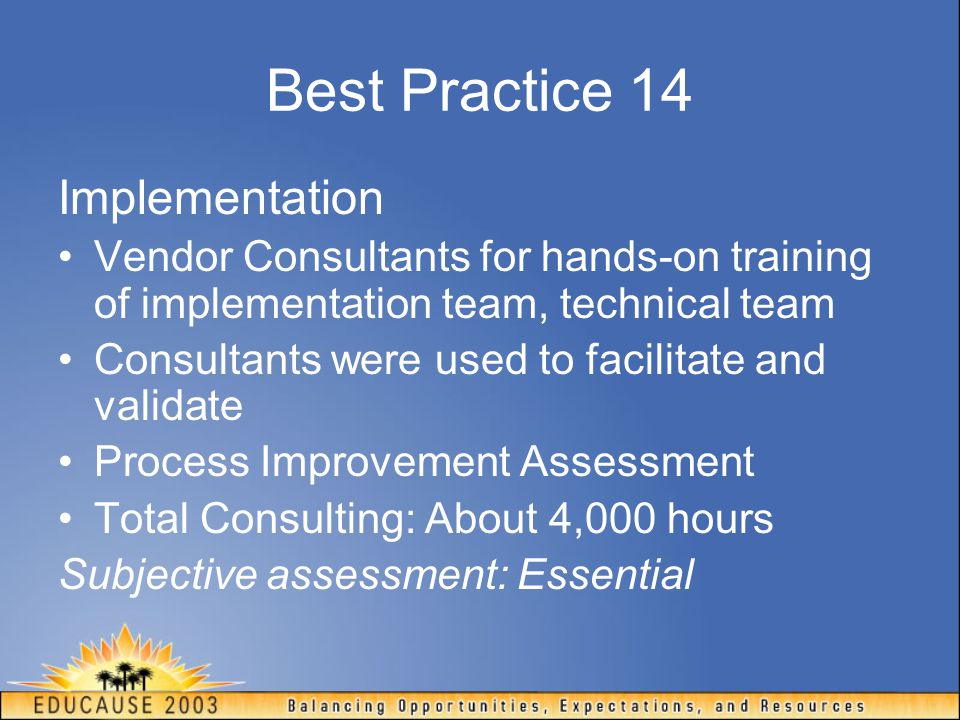 Best Practice 14 Implementation