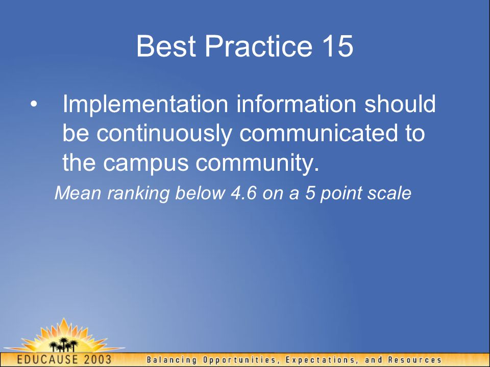 Best Practice 15 Implementation information should be continuously communicated to the campus community.